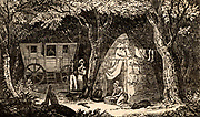 Charcoal burner's caravan and cabin in a wood in the Hythe region of Kent, England.  The charcoal burners would spend the summer in the woods cutting wood and producing charcoal, living with their families in caravans or, more usually, in rough cabins constructed of wood and turf.   Woodcut from 'The Saturday Magazine' (London, 9 January 1836).