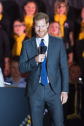 The Duke of Sussex speaks onstage at the Invictus Games 2018 opening ceremony, at Sydney Opera House, on the fifth day of the royal couple's visit to Australia.
