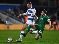 Football - 2019 / 2020 Emirates FA Cup - Fourth Round: Queens Park Rangers vs. Sheffield Wednesday<br /> <br /> Queens Park Rangers' Dominic Ball holds off the challenge from Sheffield Wednesday's Sam Hutchinson, at Kiyan Prince Foundation Stadium (Loftus Road).<br /> <br /> COLORSPORT/ASHLEY WESTERN