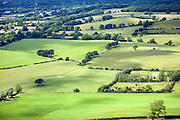View over patchwork of fields in the Weald near Fulking, West Sussex, England