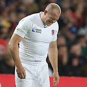 Mike Tindall, England, injured  during the England V Scotland Pool B match during the IRB Rugby World Cup tournament. Eden Park, Auckland, New Zealand, 1st October 2011. Photo Tim Clayton...