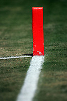 17 May 2005: Goal line marker, Football, grass, field, marker, goal line, chalk, stock, closeup, texture, Sports Ball graphic detail, illustration, product, art, clean. Ready for all uses.  Mandatory Credit:  Shelly Castellano
