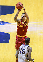 Mar 6, 2019; Morgantown, WV, USA; Iowa State Cyclones guard Nick Weiler-Babb (1) shoots during the second half against the West Virginia Mountaineers at WVU Coliseum. Mandatory Credit: Ben Queen-USA TODAY Sports
