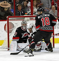 March 3, 2017 - Raleigh, NC, USA - The Canes LCam Ward (30) and Jay McClement (18) defend the net against the Arizona Coyotes' Jordan Martinook (48) during the first period of an NHL game played between the Carolina Hurricanes and the Arizona Coyotes at PNC Arena on March 3, 2017 in Raleigh, N.C. (Credit Image: © Chris Seward/TNS via ZUMA Wire)