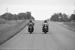 Paul Ousey (L) riding his 1925 Harley-Davidson JE with American Iron Magazine publisher Buzz Kanter on his 1936 Harley-Davidson VLH during Stage 7 of the Motorcycle Cannonball Cross-Country Endurance Run, which on this day ran from Sedalia, MO to Junction City, KS., USA. Thursday, September 11, 2014.  Photography ©2014 Michael Lichter.