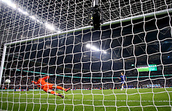 Chelsea's David Luiz misses his shot in the penalty shoot out during the Carabao Cup Final at Wembley Stadium, London.