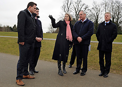 © Licensed to London News Pictures. 27/02/2012, Windsor, UK. (L-R ) JOSS CARTER Venue Security Manager 2012, JOHN KELLY, Venue Operations Manager London 2012,  THERESA MAY, IVOR LLOYD Managing Director of Dorney Lake, PAUL DEIGHTON Chief Executive London 2012,  walk along the course for Olympic Rowing evens. Home Secretary Theresa May visits Eton College Rowing Centre in Windsor today 27 february 2012 to see the preparations being made ahead of the London Olympic and Paralympic Games. Photo credit : Stephen Simpson/LNP