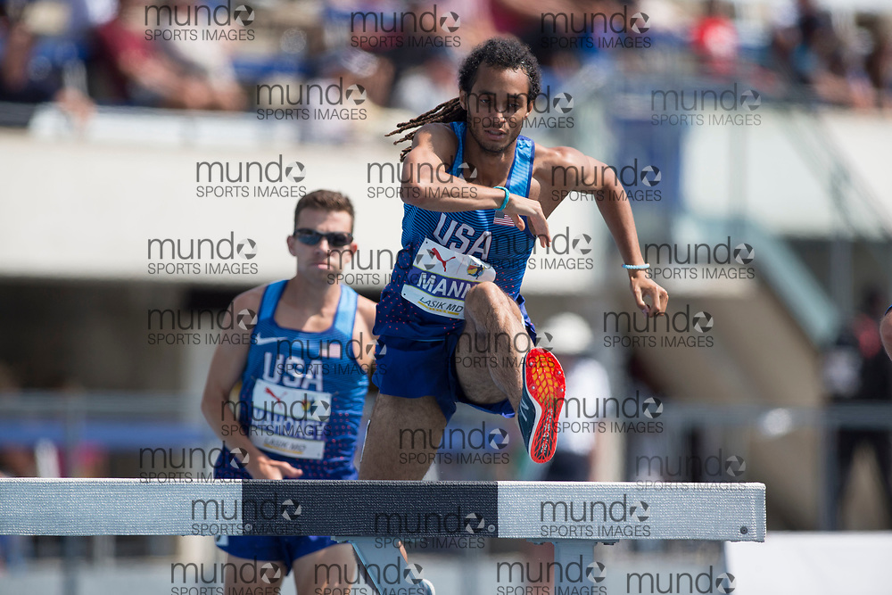 Toronto, ON -- 12 August 2018: Jordan Mann (USA), 3000m steeplechase at the 2018 North America, Central America, and Caribbean Athletics Association (NACAC) Track and Field Championships held at Varsity Stadium, Toronto, Canada. (Photo by Sean Burges / Mundo Sport Images).