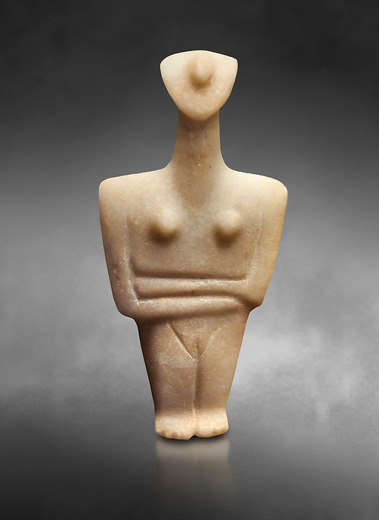 Marble female Cycladic statue figurine with folded arms. Early Cycladic Period II (2800-2300 BC) from Chalandriani, Syros. National Archaeological Museum, Athens.   Gray background. .<br /> <br /> If you prefer to buy from our ALAMY PHOTO LIBRARY  Collection visit : https://www.alamy.com/portfolio/paul-williams-funkystock/cycladic-art-artefacts.html Type into the LOWER SEARCH WITHIN GALLERY box to refine search by adding background colour, place, museum etc<br /> <br /> Visit our CYCLADIC CIVILISATIONS PHOTO COLLECTIONS for more photos to download or buy as wall art prints https://funkystock.photoshelter.com/gallery-collection/Cycladic-civilisation-Ancient-Greek-Artefacts-art-Photos-Pictures-Images/C0000CmevVvnC.XU
