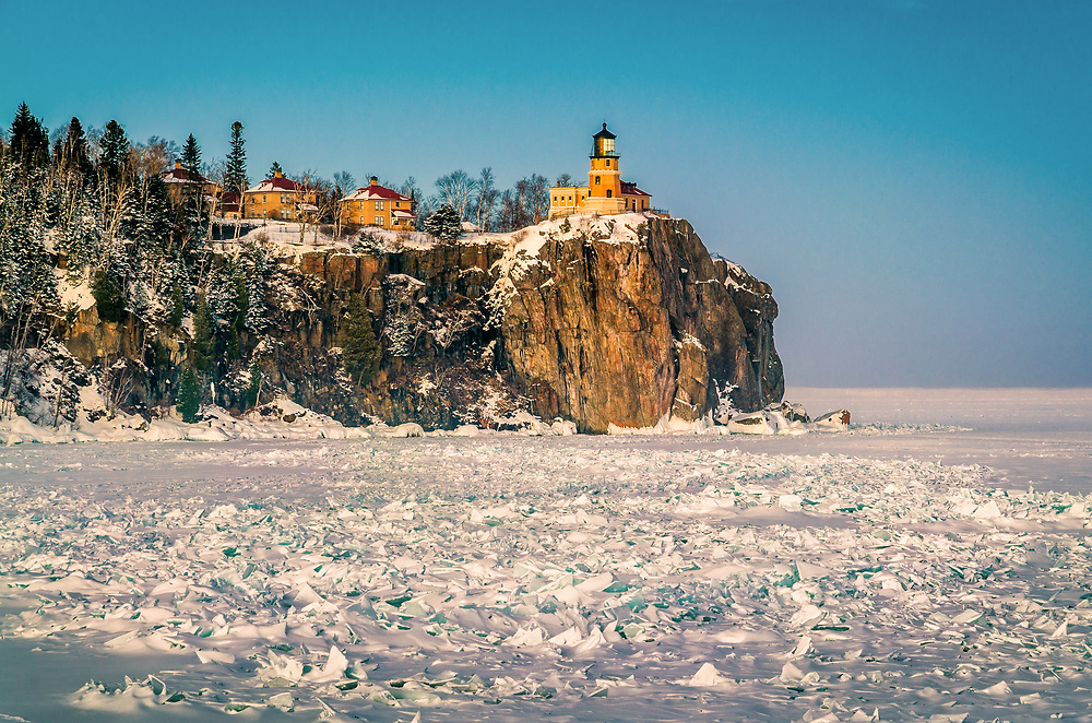 One of the days when Lake Superior was locked in ice.<br /> Split Rock Lighthouse, Minnesota