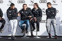 Carlos Henrique Casemiro, Keylor Navas, Mateo Kovacic and Raphael Varane of Real Madrid CF poses for a photograph after being presented with a new Audi car as part of an ongoing sponsorship deal with Real Madrid at their Ciudad Deportivo training grounds in Madrid, Spain. November 23, 2017. (ALTERPHOTOS/Borja B.Hojas)