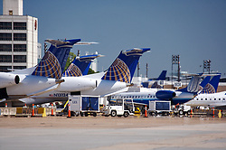 Continental airliners parked for loading and unloading at Houston's Intercontinental Airport
