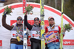 Podium, Janne Ahonen (second), Gregor Schlierenzauer (first) and Bjoern Einar Romoeren (third) at e.on Ruhrgas FIS World Cup Ski Jumping on K215 ski flying hill, on March 14, 2008 in Planica, Slovenia . (Photo by Vid Ponikvar / Sportal Images)./ Sportida)