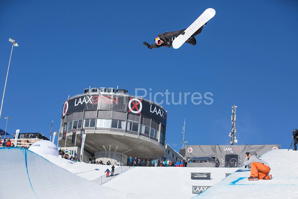 Australian pro snowboarder Scotty James huge Method during the 2017 Laax Open halfpipe competition on 19th January 2017 in Laax, Switzerland. The Laax Open is a FIS Snowboarding World Championship competition in Laax.