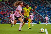 Scotlands Lisa EVANS (Arsenal WFC (ENG)) & Deniesha BLACKWOOD (Univ. West Florida (USA)) of Jamaica challenge for the ball during the International Friendly match between Scotland Women and Jamaica Women at Hampden Park, Glasgow, United Kingdom on 28 May 2019.