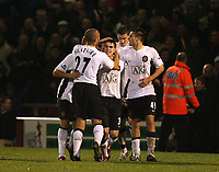 Photo: Rich Eaton.<br /> <br /> Crewe Alexander v Manchester United. Carling Cup. 25/10/2006. Kieran Lee celebrates with teammates after scoring a last minute goal to give Manchester United a 2-1 victory