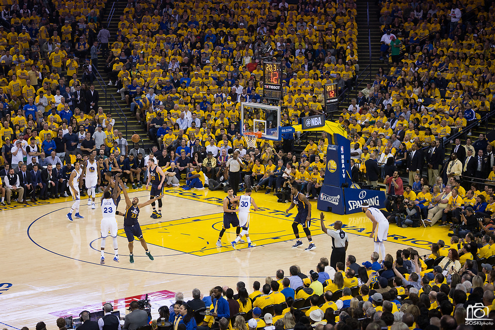Golden State Warriors forward Draymond Green (23) shoots a three pointer during the first quarter of Game 2 of the Western Conference Semifinals against the Utah Jazz at Oracle Arena in Oakland, Calif., on May 4, 2017. (Stan Olszewski/Special to S.F. Examiner)