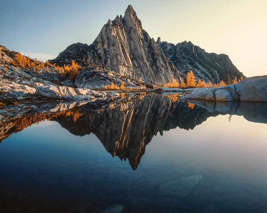 Prusik Peak, Gnome Tarn, morning light, autumn, Alpine Lakes Wilderness, Cascade Mountains, Washington, USA