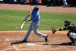 March 10, 2017 - Bradenton, Florida, U.S. - WILL VRAGOVIC   |   Times.Tampa Bay Rays first baseman Jake Bauers (70) singles in the second inning of the game between the Pittsburgh Pirates and the Tampa Bay Rays at LECOM Park in Bradenton, Fla. on Friday, March 10, 2017. (Credit Image: © Will Vragovic/Tampa Bay Times via ZUMA Wire)