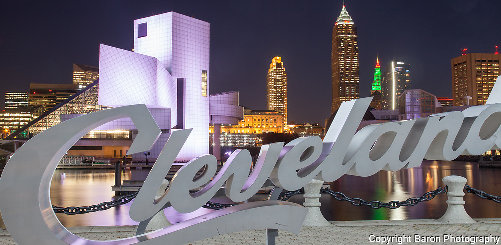 Cleveland skyline from Inner Harbor with Cleveland script sign