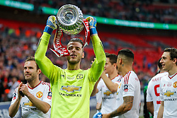 David De Gea of Manchester United celebrates after winning the FA Cup with a 1-2 victory after the game went to extra time - Mandatory byline: Rogan Thomson/JMP - 21/05/2016 - FOOTBALL - Wembley Stadium - London, England - Crystal Palace v Manchester United - FA Cup Final.
