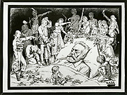 'Victor-Marie Hugo (1802-1885) French writer, statesman, poet, playwright, novelist, exponent of the Romantic Movement in France. Cartoon of  Hugo on his deathbed surrounded by the characters he has created.'