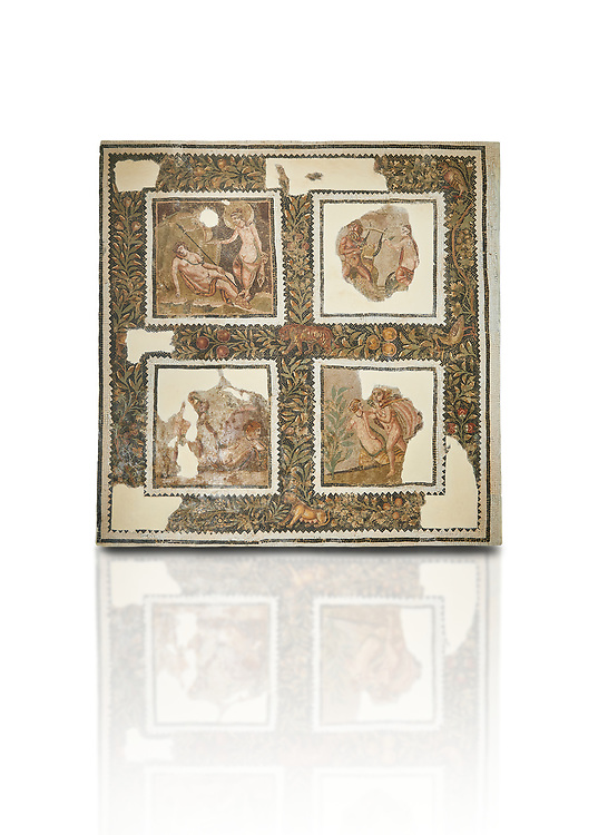Picture of a Roman mosaics design depicting scenes from mythology, from the ancient Roman city of Thysdrus House in Jilani Guirat area. End of 2nd century AD. El Djem Archaeological Museum, El Djem, Tunisia. Against a white background<br /> <br /> Detail from a mosaic which depicts Polyphene playing a lyre to charm Galate ; Dionysus drunk ; Alpheus attacking the nymph Arethusa .<br /> <br /> If you prefer to buy from our ALAMY PHOTO LIBRARY Collection visit : https://www.alamy.com/portfolio/paul-williams-funkystock/roman-mosaic.html . Type - El Djem - into the LOWER SEARCH WITHIN GALLERY box. Refine search by adding background colour, place, museum etc<br /> <br /> Visit our ROMAN MOSAIC PHOTO COLLECTIONS for more photos to download as wall art prints https://funkystock.photoshelter.com/gallery-collection/Roman-Mosaics-Art-Pictures-Images/C0000LcfNel7FpLI