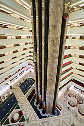 Interior of atrium inside Sheraton Hotel in Doha, Qatar