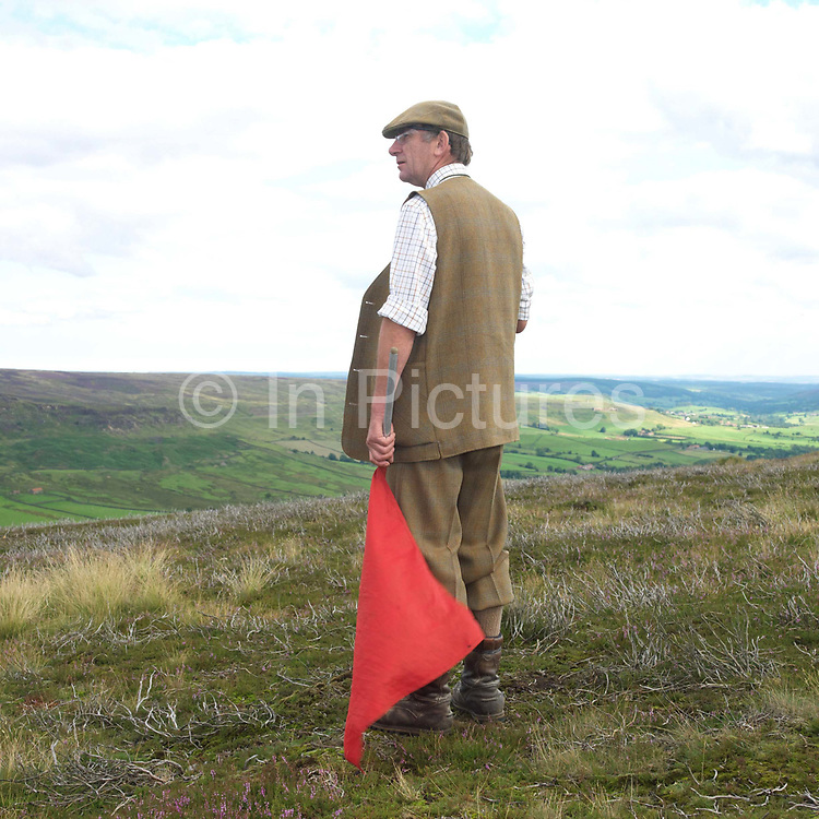 A gamekeeper wearing traditional clothing and holding a red flag works as a flanker on a grouse shoot on Spaunton Moor, North York Moors, North Yorkshire, UK