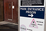 Main entrance sign to HMP Kingston. Portsmouth, United Kingdom. Kingston prison is a category C prison holding indeterminate sentenced prisoners.