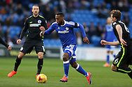 Junior Hoilett of Cardiff city makes a break..EFL Skybet championship match, Cardiff city v Brighton & Hove Albion at the Cardiff city stadium in Cardiff, South Wales on Saturday 3rd December 2016.<br /> pic by Andrew Orchard, Andrew Orchard sports photography.