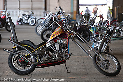 Luke Heafner's 1952 Panhead NC Chopper at the Congregation Show. Charlotte, NC. USA. Saturday April 14, 2018. Photography ©2018 Michael Lichter.