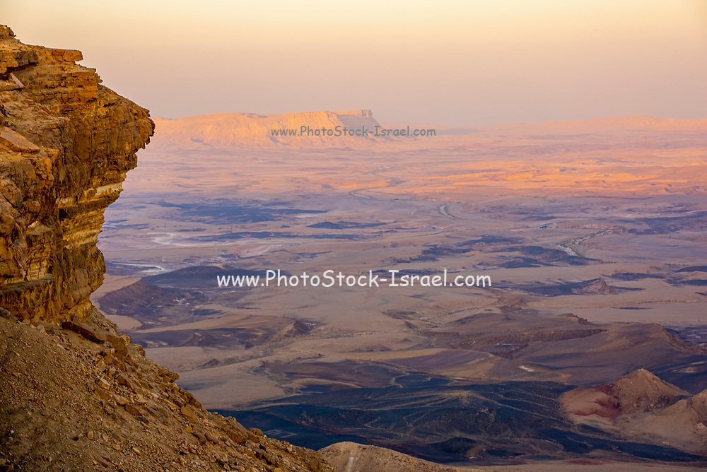 Ramon Crater, the world's largest karst erosion cirque, at the peak of Mount Negev in Israel