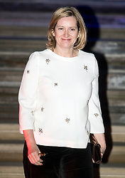 © Licensed to London News Pictures. 07/02/2018. London, UK. Home Secretary AMBER RUDD leaves the Natural History Museum in London following the annual Black and White Ball, a fundraiser held by the Conservative Party. Photo credit: Ben Cawthra/LNP