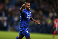 Junior Hoilett of Cardiff city celebrates after he scores his teams 1st goal. EFL Skybet championship match, Cardiff city v Ipswich Town at the Cardiff city stadium in Cardiff, South Wales on Tuesday 31st October 2017.<br /> pic by Andrew Orchard, Andrew Orchard sports photography.