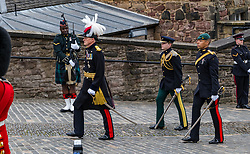 Installation of Edinburgh Castle Govenor, Edinburgh Castle, Edinburgh, Scotland, United Kingdom 23  June 2021: <br />  Installation as Governor of Edinburgh Castle: the dress rehearsal takes place for the ceremony which will be held tomorrow, two years after the handover of the position to Maj Gen Alastair Bruce of Crionaich.  The ceremony was delayed due to Covid-19. The role of Governor is a historic one, dating back to 1067. Maj Gen Bruce is also a Sky News commentator. Representative form all Scottish military regiments are involved, in a ceremony that takes a new curtailed form only within the castle due to Covid restrictions.<br /> Sally Anderson | EdinburghElitemedia.co.uk