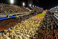 Carnaval parade of GRES Estacao Primeira de Mangueira samba school in the Sambadrome, Rio de Janeiro, Brazil.