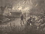Kentish agricultural workers attacking a farm at night, c1830. Ricks were burned and machinery, particularly threshing machines, wee smashed because the labourers thought they were threatening their jobs and depressing their wages. Engraving c1890.