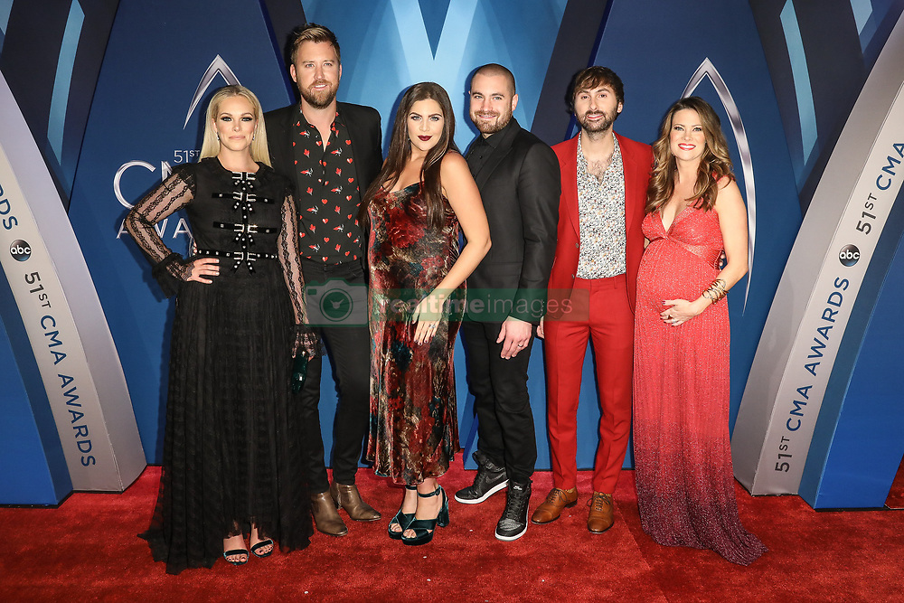 Thomas Rhett at the 51st Annual Country Music Association Awards hosted by Carrie Underwood and Brad Paisley and held at the Bridgestone Arena on November 8, 2017 in Nashville, TN. © Curtis Hilbun / AFF-USA.com. 08 Nov 2017 Pictured: Dave Haywood of Lady Antebellum and Kelli Cashiola and Chris Tyrrell and Hillary Scott of Lady Antebellum and Charles Kelley of Lady Antebellum and Cassie McConnell. Photo credit: MEGA TheMegaAgency.com +1 888 505 6342