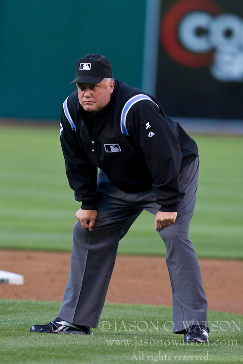 June 21, 2010; Oakland, CA, USA;  Second base umpire Brian O'Nora (7) during the first inning of the game between the Cincinnati Reds and the Oakland Athletics at Oakland-Alameda County Coliseum.  Cincinnati defeated Oakland 6-4 in 10 innings.
