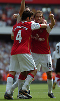Photo: Tony Oudot. <br /> Arsenal v Fulham. Barclays Premiership. 12/08/2007. <br /> Arsenals Mathieu Flamini celebrates Hlebs winning goal with Cesc Fabregas