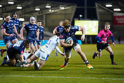Sale Sharks No.8 Dan Du Preez drives into the Bath defence during a Gallagher Premiership Round 9 Rugby Union match, Friday, Feb 12, 2021, in Leicester, United Kingdom. (Steve Flynn/Image of Sport)