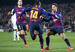 February 6, 2019 - Barcelona, Spain - Malcolm goal celebration during the match between FC Barcelona and Real Madrid corresponding to the first leg of the 1/2 final of the spanish cup, played at the Camp Nou Stadium, on 06th February 2019, in Barcelona, Spain. (Credit Image: © Joan Valls/NurPhoto via ZUMA Press)
