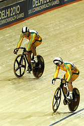 Shane Perkins and Scott Sunderland of Australia play cat and mouse during the men's sprint final held at the velodrome at the Indira Gandhi Sports Complex in New Delhi, India on the 7 October 2010..Photo by:  Ron Gaunt/SPORTZPICS/PHOTOSPORT