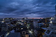 overhead view of a city neighborhood at dusk in Yokosuka Japan