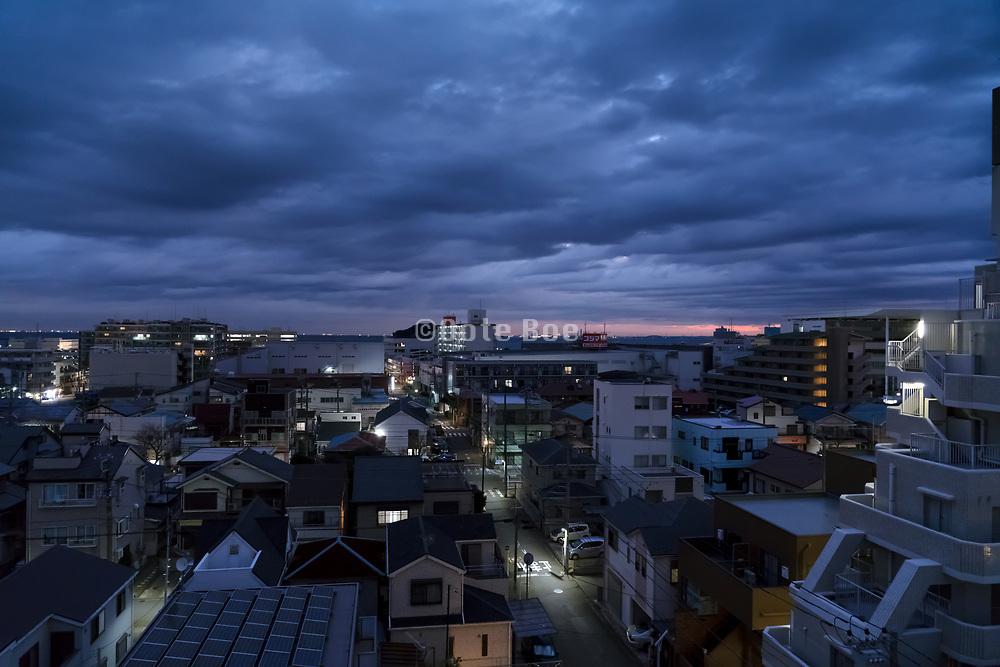 overhead view of a city neighborhood at dusk in Yokosuka Japan