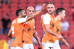 January 18, 2018 - Brisbane, QUEENSLAND, AUSTRALIA - Ivan Franjic of the Roar (#77, 2nd right) celebrates with team mates after scoring a goal during the round seventeen Hyundai A-League match between the Brisbane Roar and the Perth Glory at Suncorp Stadium on January 18, 2018 in Brisbane, Australia. (Credit Image: © Albert Perez via ZUMA Wire)
