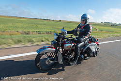 Cris Sommer Simmons riding her 1934 Harley-Davidson VD during Stage 8 of the Motorcycle Cannonball Cross-Country Endurance Run, which on this day ran from Junction City, KS to Burlington, CO., USA. Saturday, September 13, 2014.  Photography ©2014 Michael Lichter.
