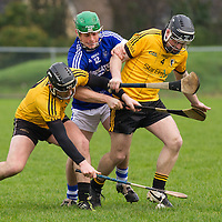 Cratloe's Sean Collins gets crowded out by Clonlara's Nicky O'Connell and Pat O'Hare