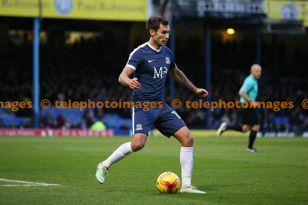 Will Atkinson of Southend United on the ball during the Sky Bet League 1 match between Southend United and Bradford City at Roots Hall in Southend. November 19, 2016.<br /> Arron Gent / Telephoto Images<br /> +44 7967 642437